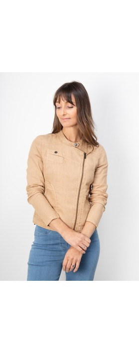 Sandwich Clothing Linen Biker Jacket Camel