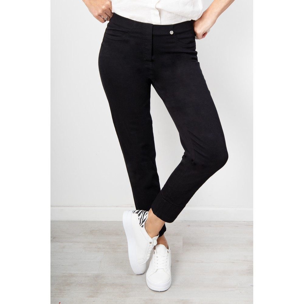 Robell Bella 09 Black Ankle Crop Length Jean with Cuff Black