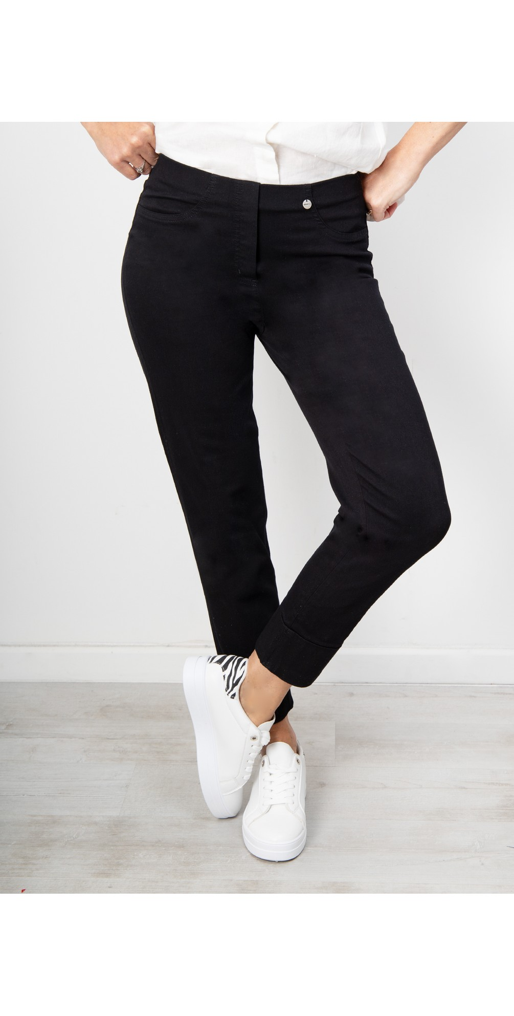 Bella 09 Black Ankle Crop Length Jean with Cuff main image