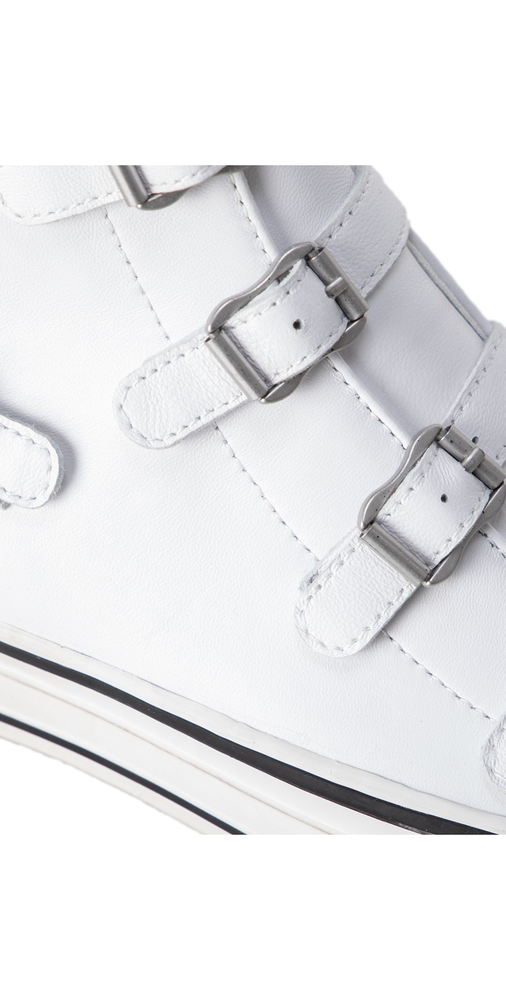 Genesis White Leather Buckle Trainers  main image