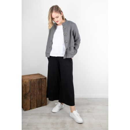 Thing Three Quarter Sleeve Two Pocket Linen Top - White