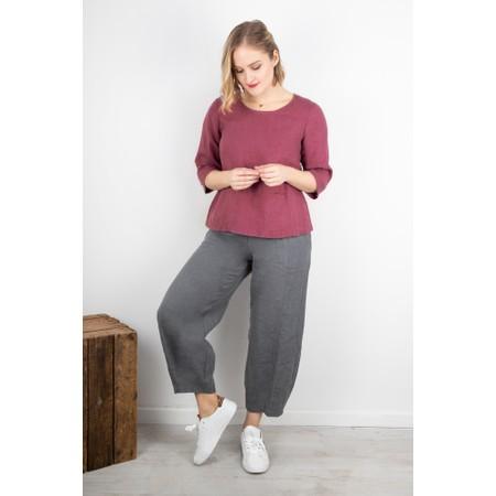 Thing Erin Linen Three Quarter Sleeve Two Pocket Top - Purple