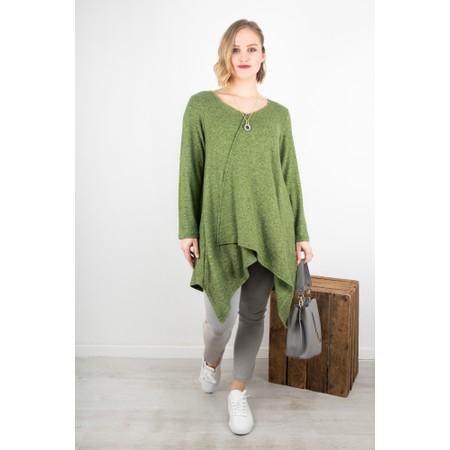 Thing Long A-symmetric Fleece Top - Green