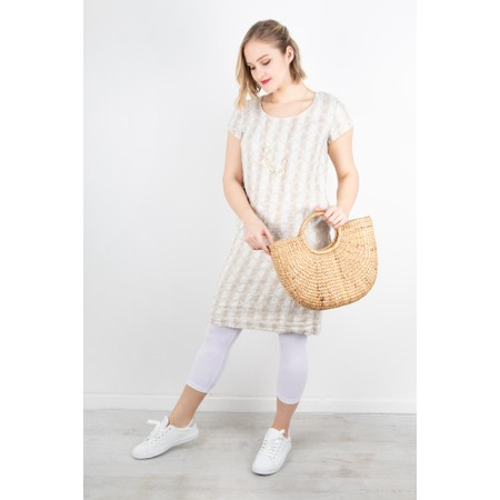 Thing Short Sleeve Linen Printed Shift Dress - Off-White