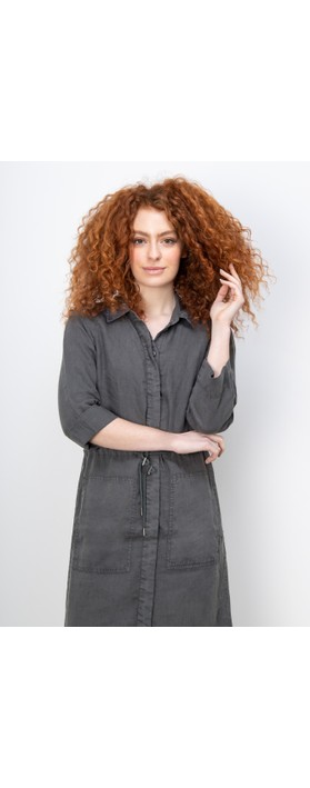 Sandwich Clothing Linen Shirt Dress Anthracite