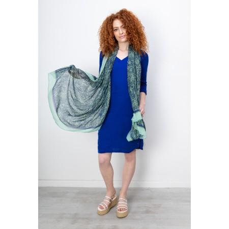 Sandwich Clothing Three Quarter Sleeve Linen Blend Dress - Blue