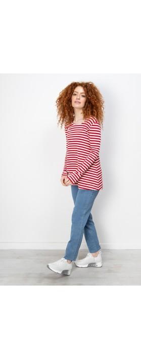 BY BASICS Anya Round Neck Organic Cotton Top Off White/Brick Red 0/301