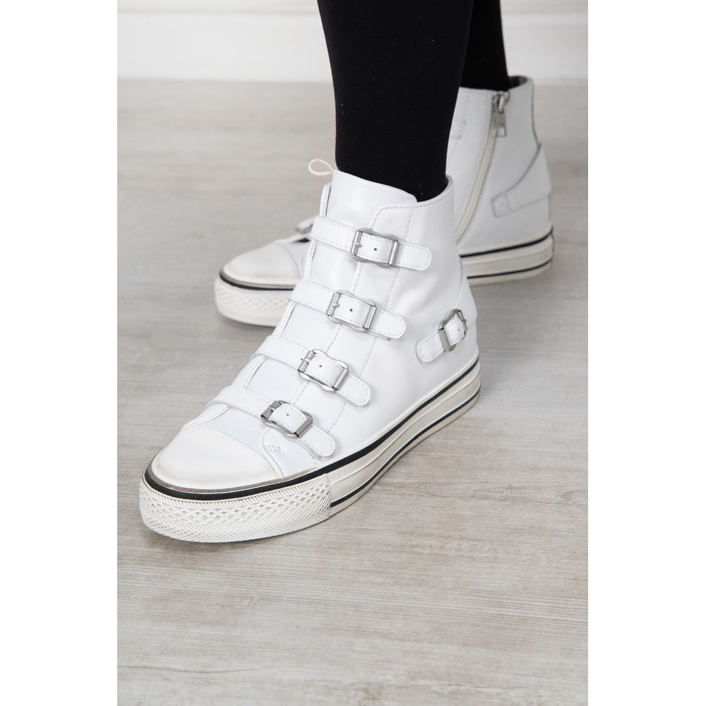 Ash Genesis White Leather Buckle Trainers  White