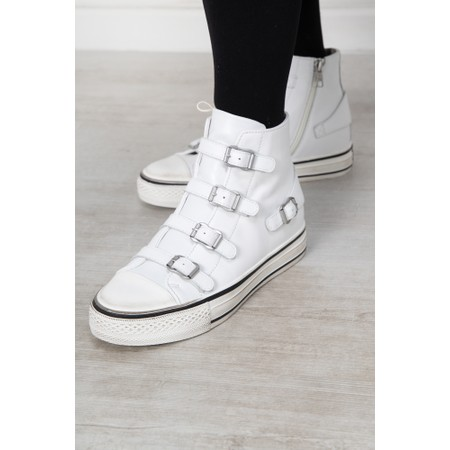 Ash Genesis White Leather Buckle Trainers  - White