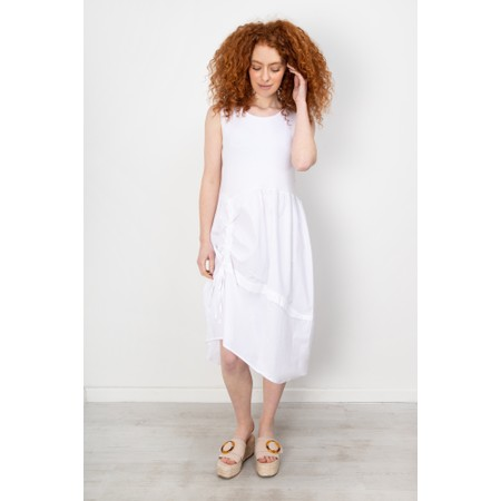 Crea Concept Balloon Drawstring Detail Dress - White
