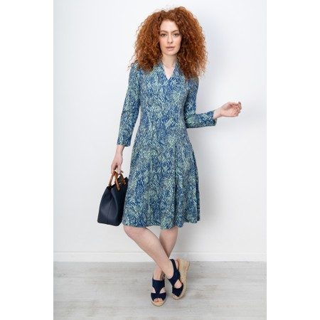 Sandwich Clothing Fit and Flare Abstract Print Dress - Blue