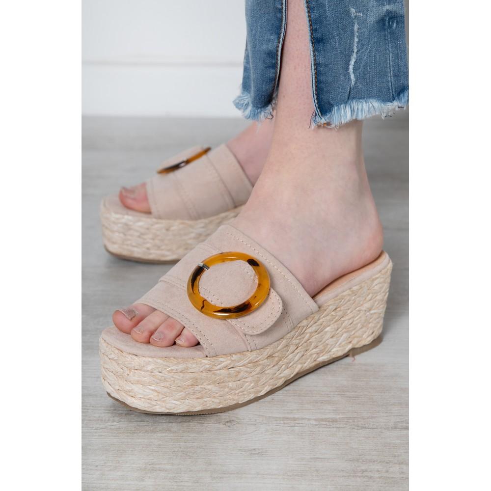 Livshu Amalfi Wedge Sandal  Nude
