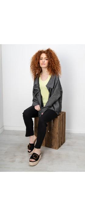 Crea Concept Stripe Detail Linen Jacket Black