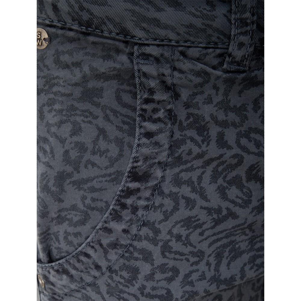 Sandwich Clothing Leopard Print Soft Stretch Twill Trousers Blue Grey