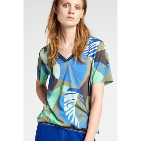 Sandwich Clothing Abstract Palm Print Top - Green