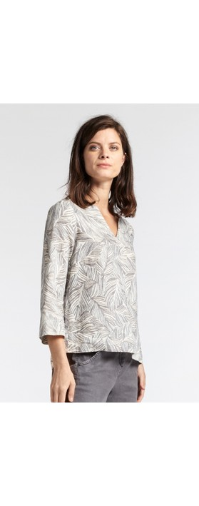Sandwich Clothing Linen Palm Print Top Anthracite