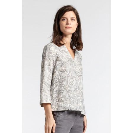 Sandwich Clothing Linen Palm Print Top - Grey