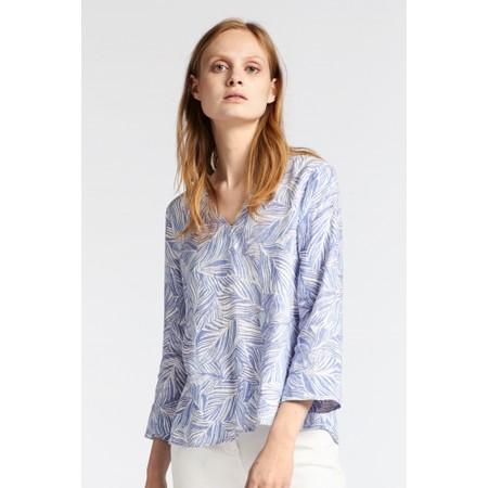 Sandwich Clothing Linen Palm Print Top - Blue