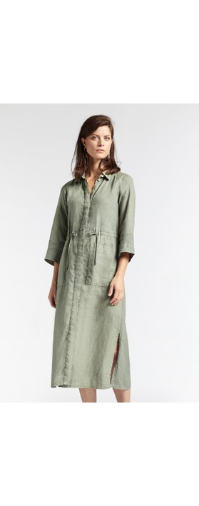 Sandwich Clothing Linen Shirt Dress Washed Sage