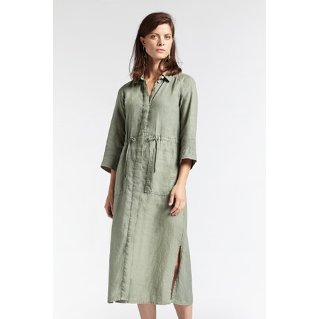 Sandwich Clothing Linen Shirt Dress - Green