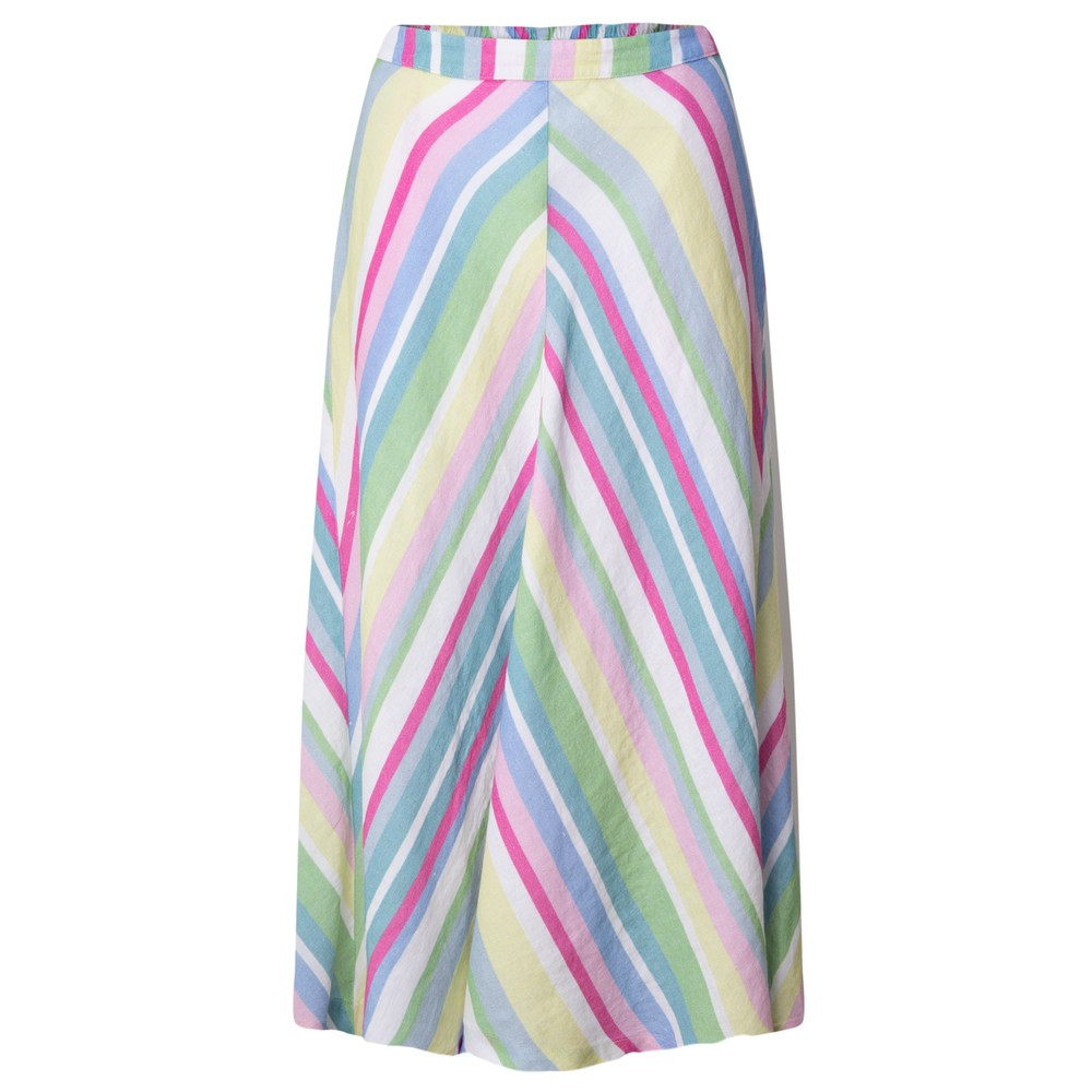Sahara Rainbow Stripe A-Line Linen Skirt Multi