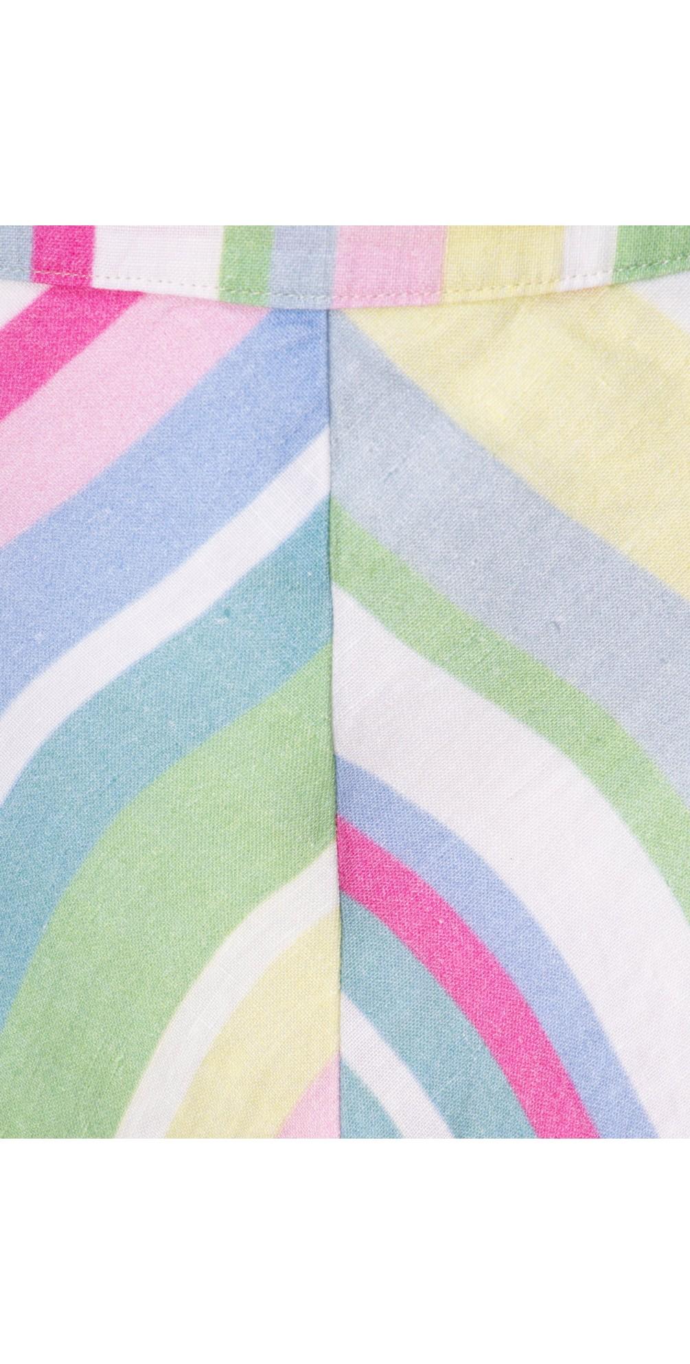 Rainbow Stripe A-Line Linen Skirt main image