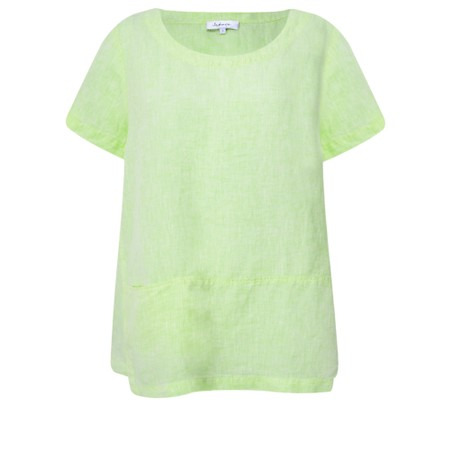 Sahara Chambray  Linen Step Hem Top - Green