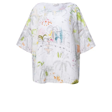 Sahara Summer Holiday Print Boxy Linen Top - Multicoloured