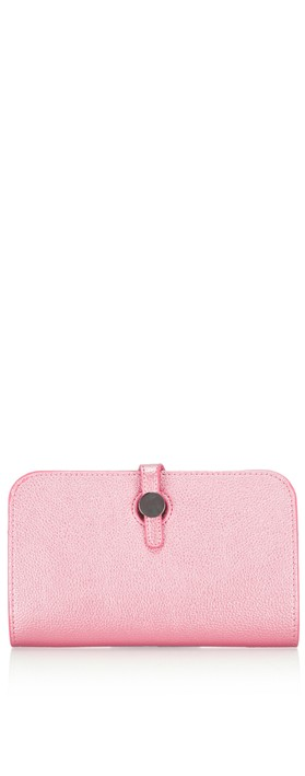 Gemini Label Bags Meli Pleather Matinee Purse Metallic Fuchsia