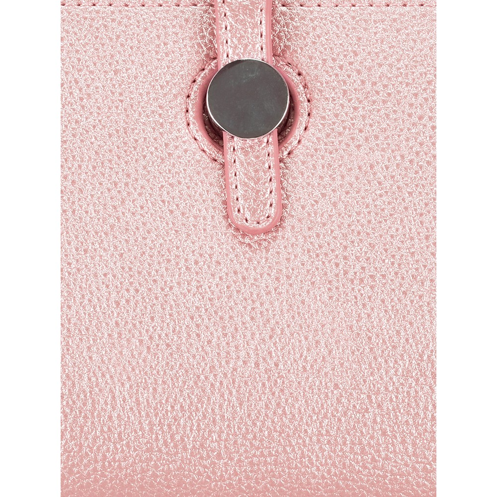 Gemini Label Bags Meli Pleather Matinee Purse Metallic Pink