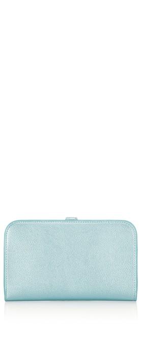 Gemini Label Bags Meli Pleather Matinee Purse Metallic Blue