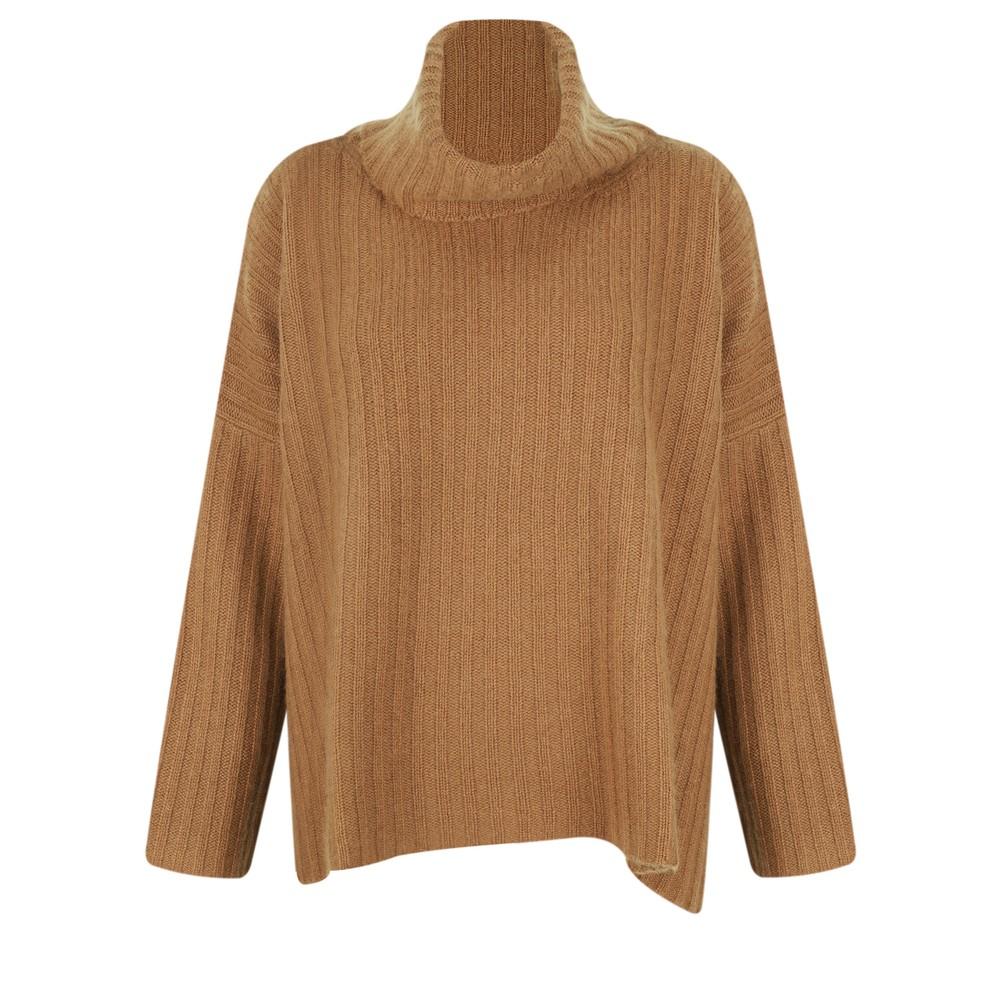 Gemini Label Clothing Ribbed Polo Neck Cashmere Jumper Chestnut