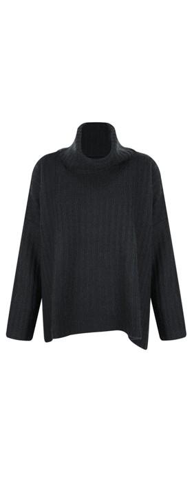 Gemini Label Clothing Ribbed Polo Neck Cashmere Jumper Ebony