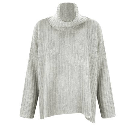 Gemini Label Clothing Ribbed Polo Neck Cashmere Jumper - Grey