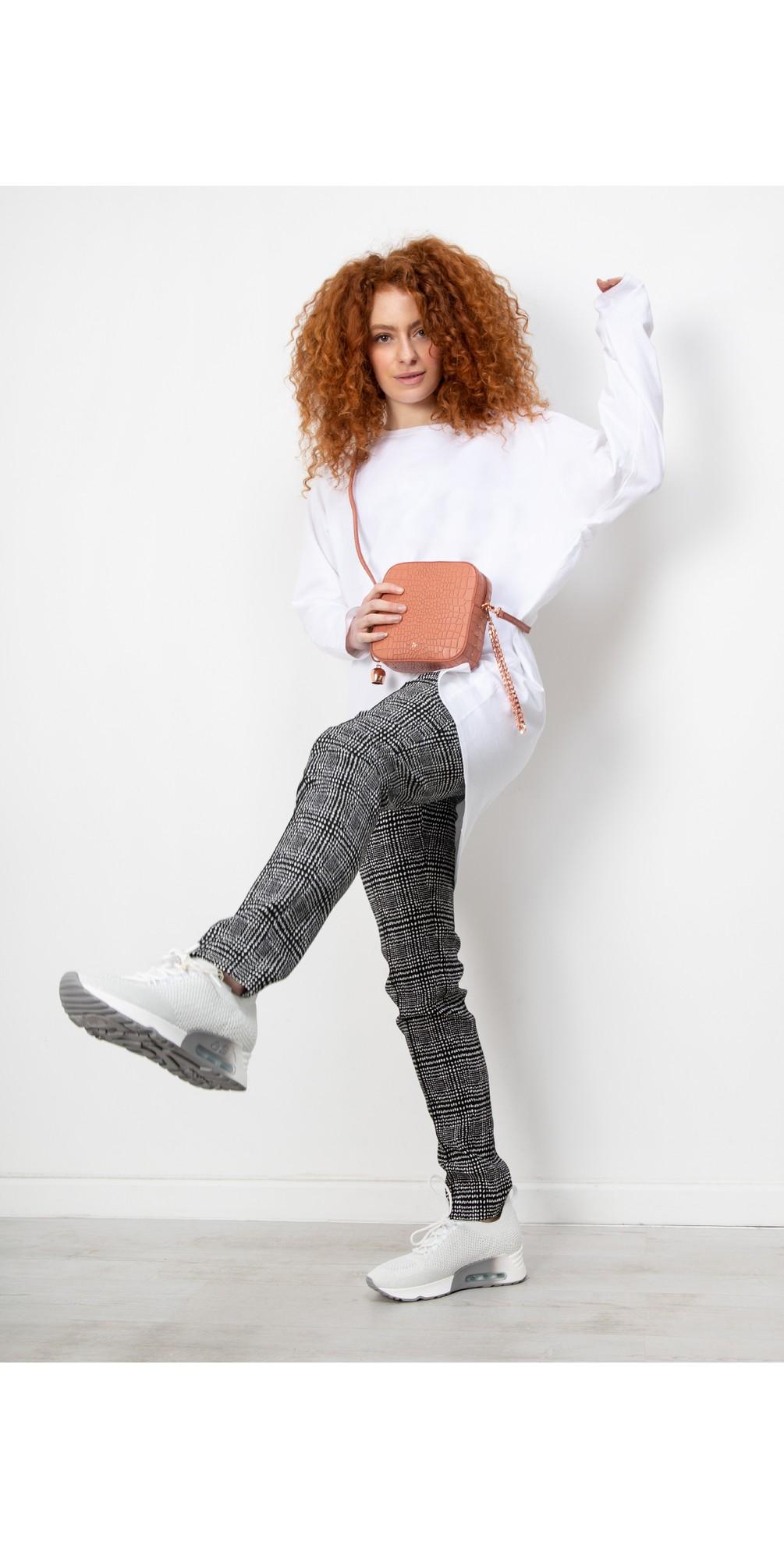 Holly Smart Check Full Length Black/White Trouser main image