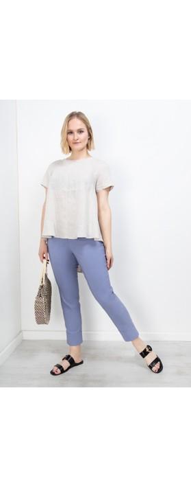 Robell Bella 09 Denim Blue Ankle Length Crop Cuff Trouser Denim Blue 62