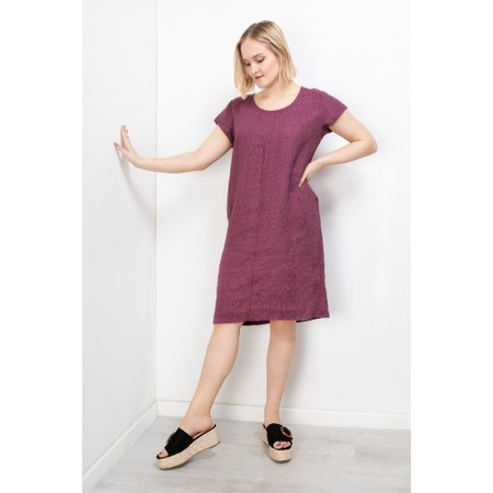 Thing Striped Linen Shift Dress - Purple