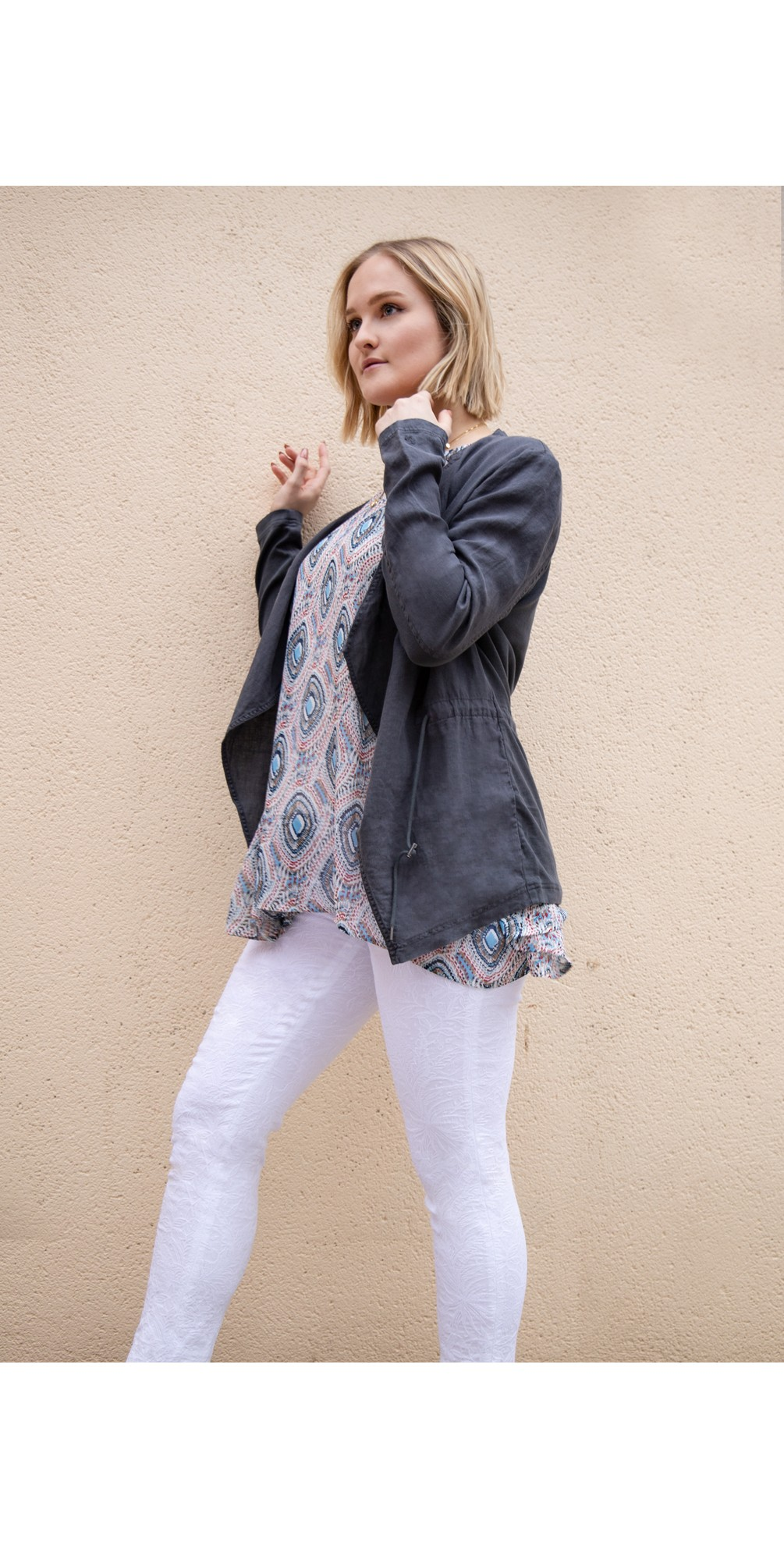 Rose 09 White Ankle Length Jacquard Slimfit Trouser main image