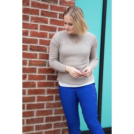 Robell Bella 09 Royal Blue Ankle Length Crop Cuff Trouser - Blue