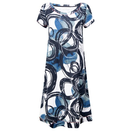 Foil Loop Of The Day Swing Dress - Blue