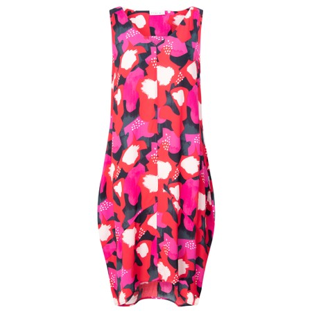 Foil Switching Sides Floral Dress - Red