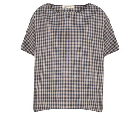 Mama B Oversized Ninfa Check Shirt Top - Blue