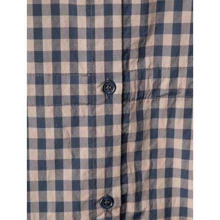 Mama B Thassos Cotton Button Through Check Shirt Dress - Blue
