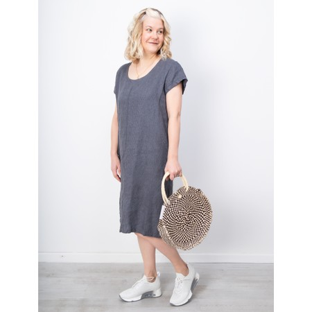 Thing Striped Linen Shift Dress - Grey