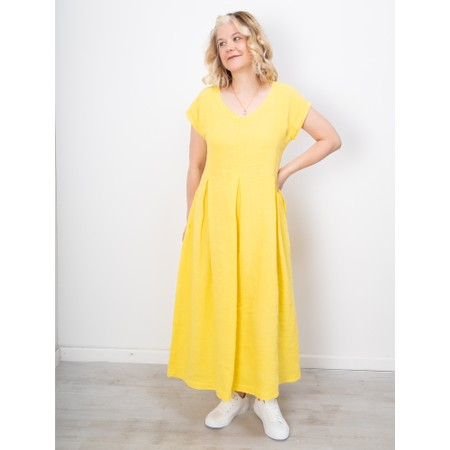 Sahara Linen Pleat Detail Dress - Yellow