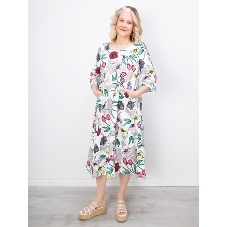 Sahara Sketchbook Flower A-Line Linen Dress - Multicoloured