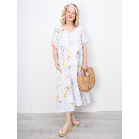 Sahara Summer Holiday Flared Linen Dress - Multicoloured