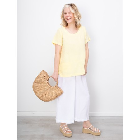 Sahara Chambray  Linen Step Hem Top - Pink