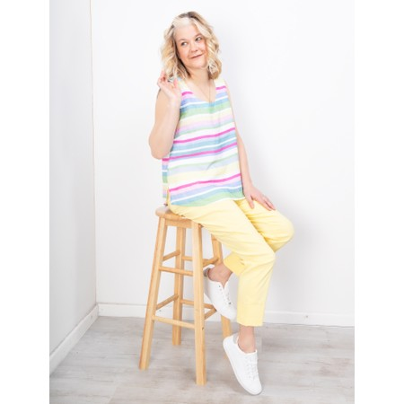 Sahara Rainbow Stripe Linen Vest Top - Multicoloured