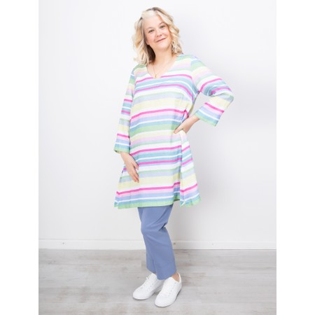 Sahara Rainbow Stripe Flared Linen Tunic - Multicoloured